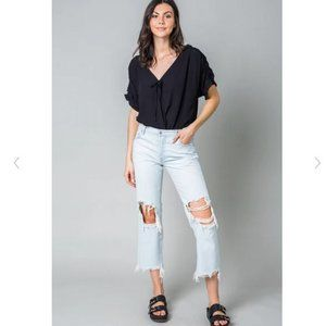 Free People Black Cleo Bodysuit With Tie Front